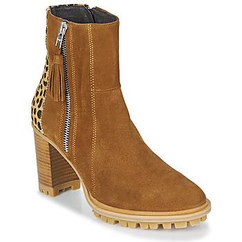 Sapatos Mulher Botins Philippe Morvan LOKS V1 VELOURS CAMEL/LEOP Castanho / Leopardo