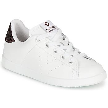 Sapatos Rapariga Sapatilhas Victoria TENIS PIEL Branco / Bordô