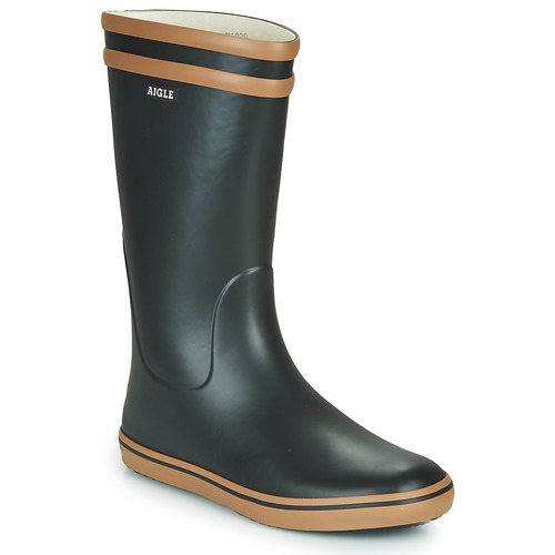 Sapatos Mulher Botas de borracha Aigle MALOUINE Preto / Camel