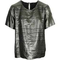 Textil Mulher Tops / Blusas Paul Smith Top col rond ample lamé Swirl Preto