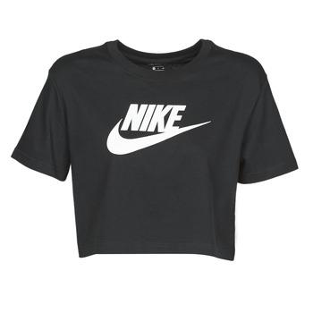 Textil Mulher T-Shirt mangas curtas Nike W NSW TEE ESSNTL CRP ICN FTR Preto