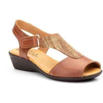 Sapatos Mulher Sandálias Cbp - Conbuenpie Sandalia de piel de mujer by TROPPA (R.ST) Marron