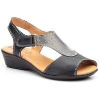 Sapatos Mulher Sandálias Cbp - Conbuenpie Sandalia de piel de mujer by TROPPA (R.ST) Noir