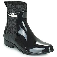Sapatos Mulher Botas de borracha Coach RIVINGTON RAIN BOOTIE Preto