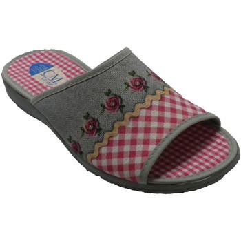 Sapatos Mulher Chinelos Calzamur Chinelos de dedo e salto aberto de mulhe rosa