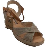 Sapatos Mulher Sandálias Calzamur Sandália de cunha alta feminina com tira oro