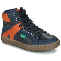 Sapatos Rapaz Sapatilhas de cano-alto Kickers Lowell Marinho / Laranja