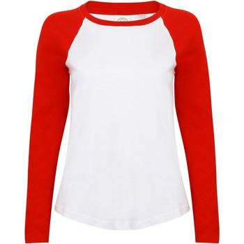 Textil Mulher T-shirt mangas compridas Skinni Fit SK271 Branco/vermelho