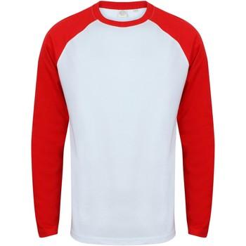 Textil Homem T-shirt mangas compridas Skinni Fit SF271 Branco / Vermelho