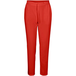 Textil Mulher Calças Vero Moda 10227814 VMSIMPLY EASY NW LOOSE PANT WVN GA AURORA RED Rojo