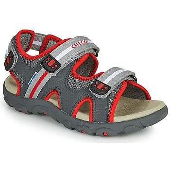 Sapatos Rapaz Sandálias Geox JR SANDALE STRADA Cinza / Vermelho