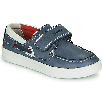 Sapatos Rapaz Mocassins Geox J DJROCK GARÇON Azul / Branco