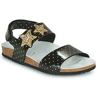 Sapatos Rapariga Sandálias Geox J ADRIEL GIRL Preto / Ouro