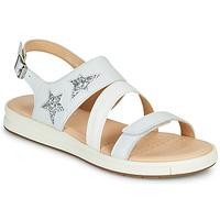 Sapatos Rapariga Sandálias Geox J SANDAL REBECCA GIR Branco / Prata