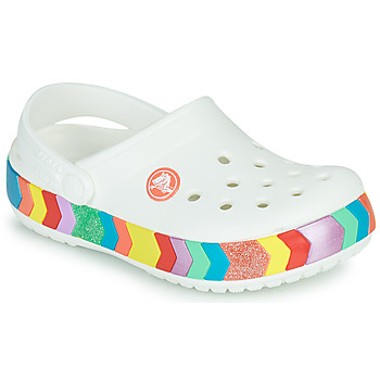 Sapatos Rapariga Tamancos Crocs CROCBAND CHEVRON BEADED CLOG K Branco / Multicolor