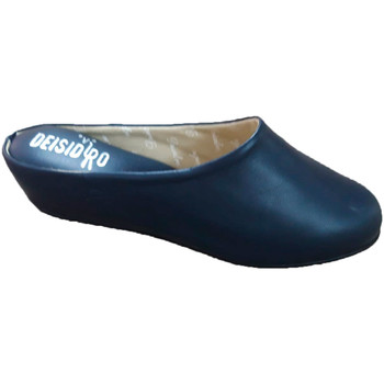 Sapatos Mulher Tamancos Deisidro Chinelos femininos de couro abertos para azul