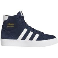 Sapatos Rapaz Sapatilhas de cano-alto adidas Originals Basket Profi J Branco, Azul marinho