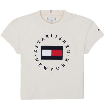 Textil Rapariga T-Shirt mangas curtas Tommy Hilfiger KG0KG05503-Z00-J Bege
