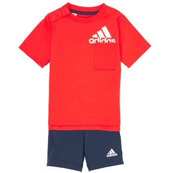 Textil Rapaz Conjunto adidas Performance BOS SUM  SET Vermelho / Preto