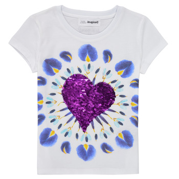 Textil Rapariga T-Shirt mangas curtas Desigual 21SGTK45-1000 Branco