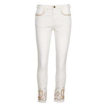 Textil Mulher Calças de ganga slim Desigual PAISLEY Branco