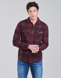 Textil Homem Camisas mangas comprida Dickies NEW SACRAMENTO SHIRT MAROON Bordô / Preto