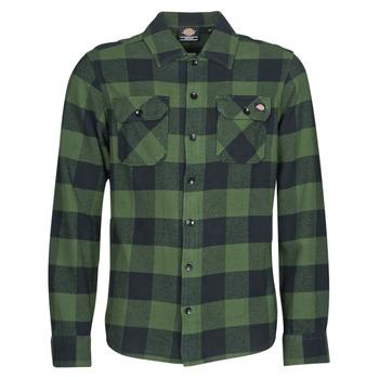 Textil Homem Camisas mangas comprida Dickies NEW SACRAMENTO SHIRT PINE GREEN Cáqui / Preto