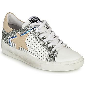 Sapatos Mulher Sapatilhas Semerdjian CARLA Branco / Prata / Bege