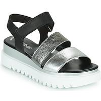 Sapatos Mulher Sandálias Gabor 6461061 Preto / Branco / Prata