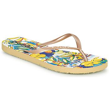 Sapatos Mulher Chinelos Desigual FLIP FLOP TROPICUBAN Ouro