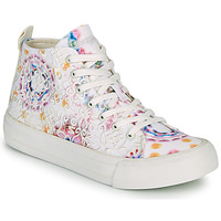 Sapatos Mulher Sapatilhas de cano-alto Desigual BETA LACE TIE DYE Branco