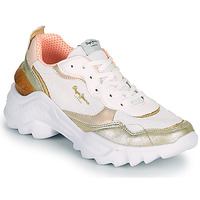 Sapatos Mulher Sapatilhas Pepe jeans ECCLES TOP Branco / Ouro