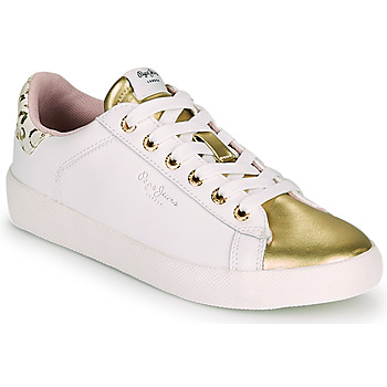 Sapatos Mulher Sapatilhas Pepe jeans KIOTO FIRE Branco / Ouro
