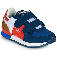 Sapatos Rapaz Sapatilhas Pepe jeans SYDNEY TREND BOY KIDS SS21 Azul / Vermelho