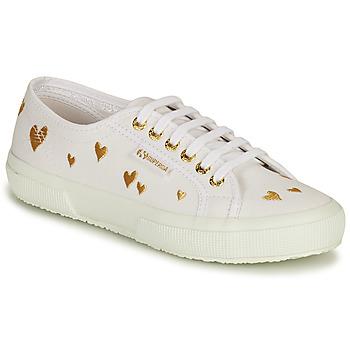 Sapatos Mulher Sapatilhas Superga 2750 HEARTS EMBRODERY Branco / Ouro