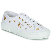 Sapatos Criança Sapatilhas Superga 2750 COTJEMBROIDERY LAMEHEARTS Branco / Ouro
