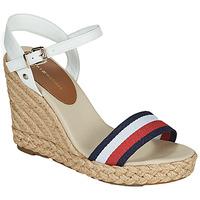 Sapatos Mulher Sandálias Tommy Hilfiger SHIMMERY RIBBON HIGH WEDGE Branco