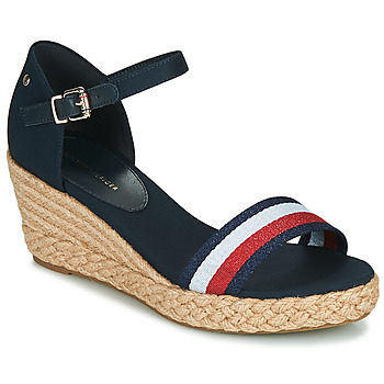 Sapatos Mulher Sandálias Tommy Hilfiger SHIMMERY RIBBON MID WEDGE SANDAL Marinho
