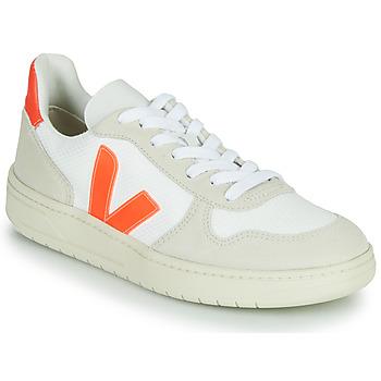 Sapatos Sapatilhas Veja V-10 Branco / Laranja