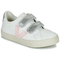 Sapatos Rapariga Sapatilhas Veja SMALL ESPLAR VELCRO Branco / Ouro