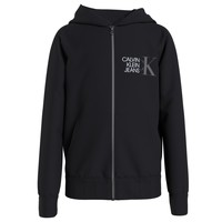 Textil Rapaz Sweats Calvin Klein Jeans HYBRID LOGO ZIP THROUGH Preto