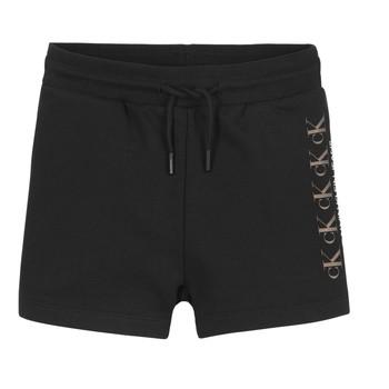 Textil Rapariga Shorts / Bermudas Calvin Klein Jeans CK REPEAT FOIL KNIT SHORTS Preto