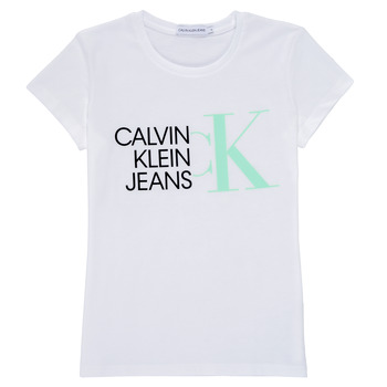 Textil Rapariga T-Shirt mangas curtas Calvin Klein Jeans HYBRID LOGO SLIM T-SHIRT Branco