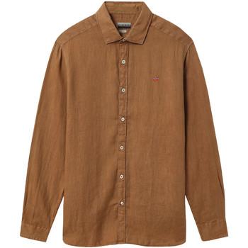 Textil Homem Camisas mangas comprida Napapijri NP000IL7 Castanho