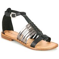 Sapatos Mulher Sandálias Kickers ETIKET Preto / Prateado