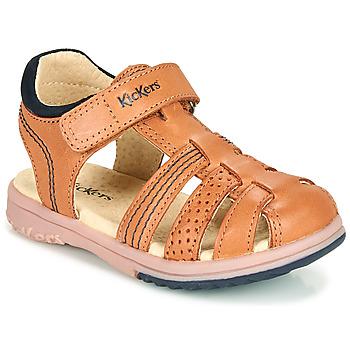 Sapatos Rapaz Sandálias Kickers PLATINIUM Camel