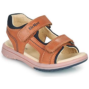Sapatos Rapaz Sandálias Kickers PLATINO Camel