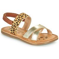 Sapatos Rapariga Sandálias Kickers DYACROSS Ouro / Leopardo
