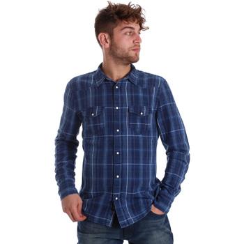 Textil Homem Camisas mangas comprida Gaudi 721BU46005 Azul
