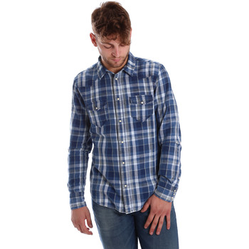 Textil Homem Camisas mangas comprida Gaudi 721BU46008 Azul